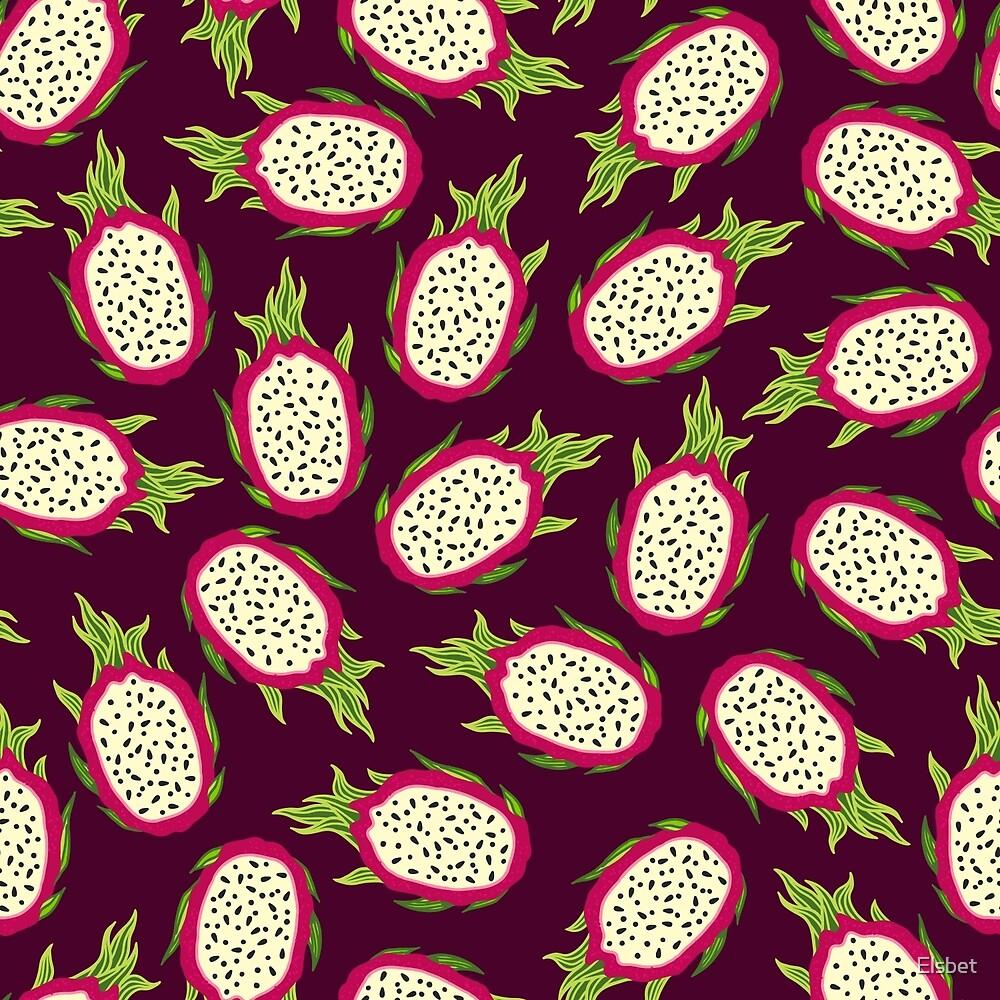 Dragon fruit on burgundy background by Elsbet