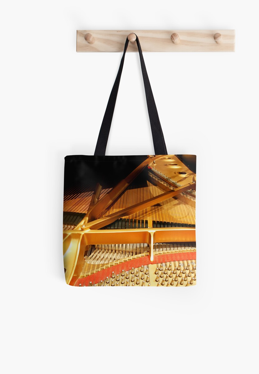 inside a steinway concert grand tote bags by heather friedman redbubble. Black Bedroom Furniture Sets. Home Design Ideas