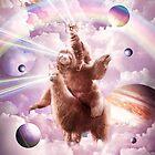 Laser Eyes Space Cat Riding Sloth, Llama - Rainbow by SkylerJHill