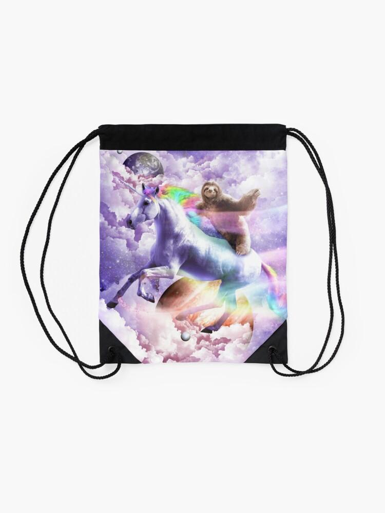 Alternate view of Epic Space Sloth Riding On Unicorn Drawstring Bag