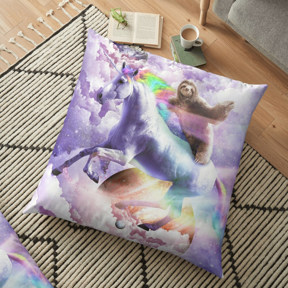 Epic Space Sloth Riding On Unicorn Floor Pillow