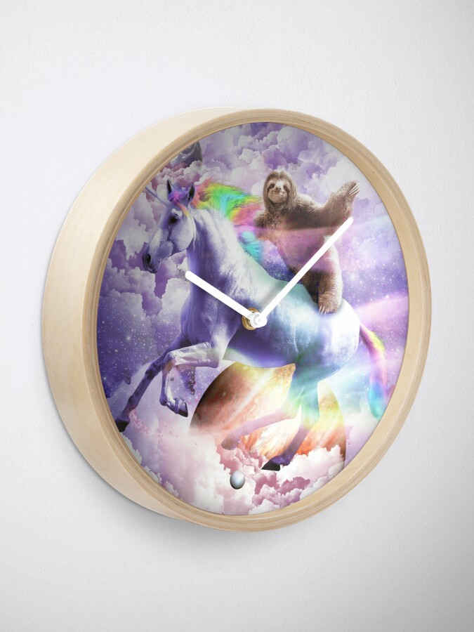 Alternate view of Epic Space Sloth Riding On Unicorn Clock