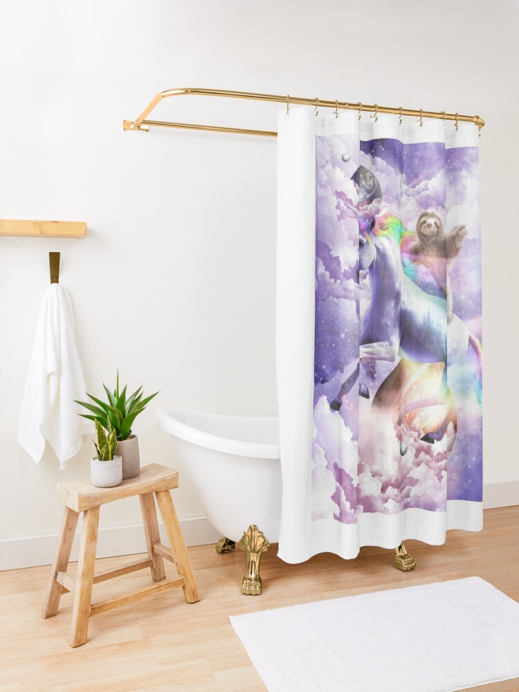 Alternate view of Epic Space Sloth Riding On Unicorn Shower Curtain
