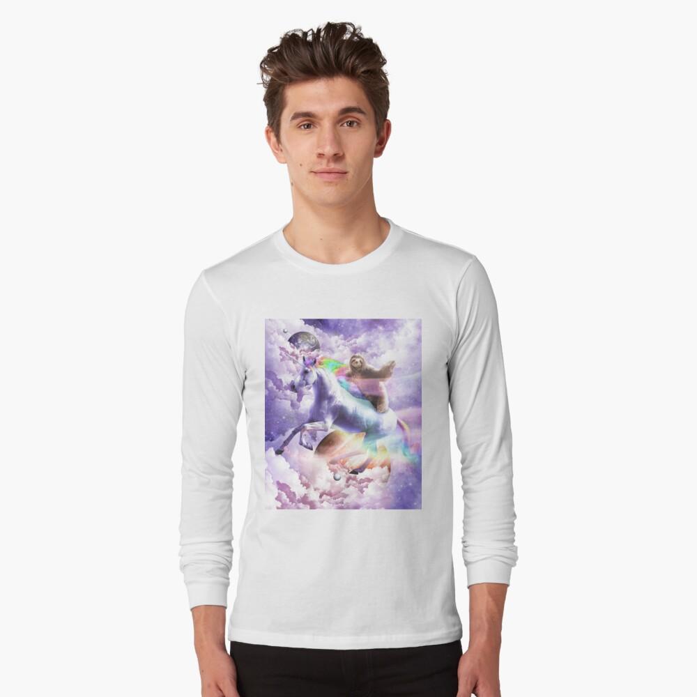 Epic Space Sloth Riding On Unicorn Long Sleeve T-Shirt