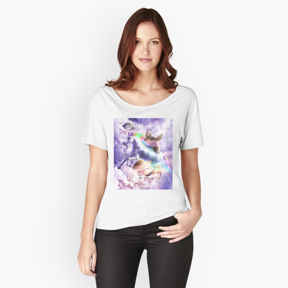 Epic Space Sloth Riding On Unicorn Relaxed Fit T-Shirt