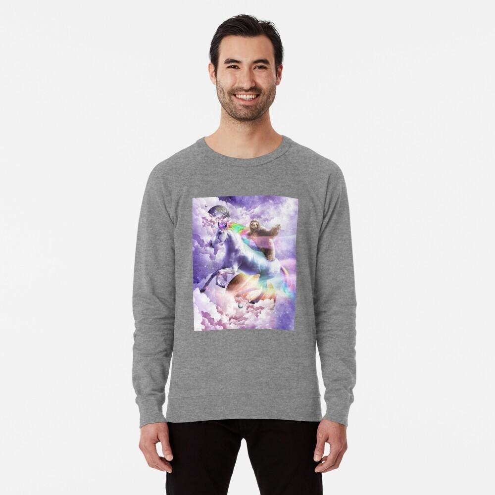 Epic Space Sloth Riding On Unicorn Lightweight Sweatshirt
