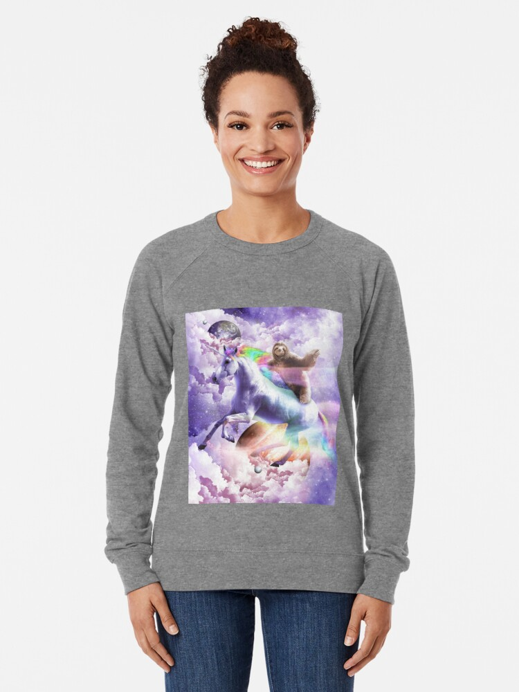 Alternate view of Epic Space Sloth Riding On Unicorn Lightweight Sweatshirt