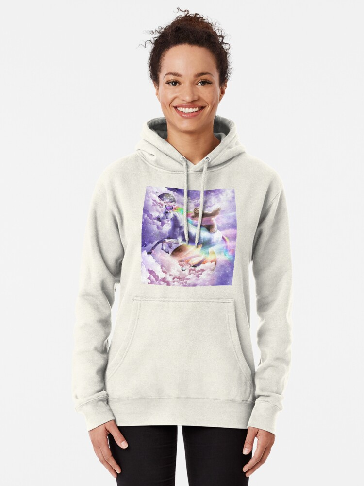 Alternate view of Epic Space Sloth Riding On Unicorn Pullover Hoodie