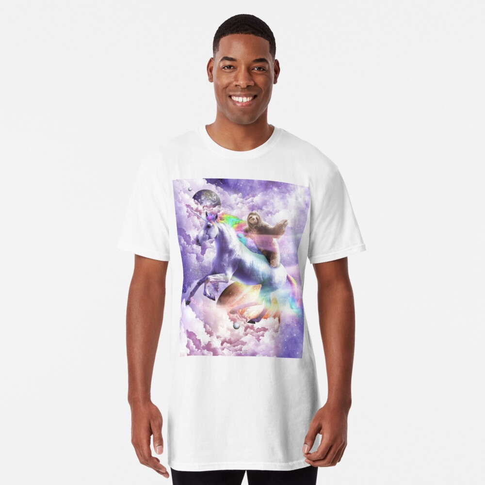 Epic Space Sloth Riding On Unicorn Long T-Shirt