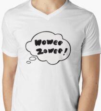 Wowee Zowee Aufkleber T-Shirt mit V-Ausschnitt für Männer
