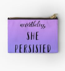 Nevertheless SHE PERSISTED - Purple Blue Clouds in the Sky Quote Text Zipper Pouch