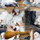 Clumber Spaniels by Jan Irving brown by JAN IRVING
