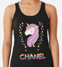 Chanel Unicorn Rainbow Heart Text - Special Personalised Gift For Chanel Women's Tank Top