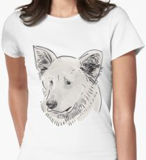 Shepherd. Sketch drawing. Black contour on a purple grunge background. Women's Fitted T-Shirt