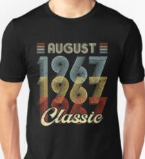Funny August 1967 Classic Vintage Retro Birthday Gift 80s Style Unisex T-Shirt