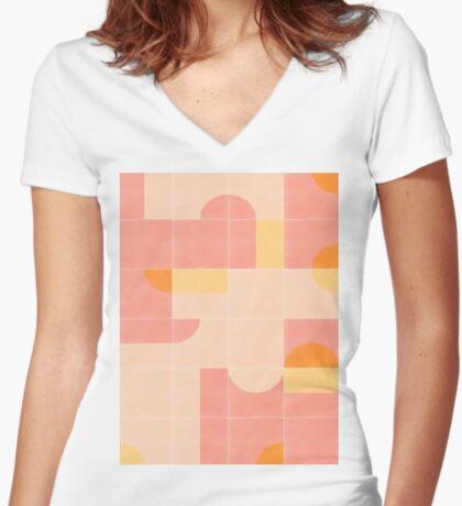 Retro Tiles 02 #redbubble #pattern Fitted V-Neck T-Shirt