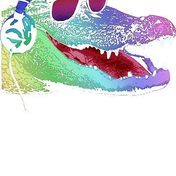 Cool Neon Alligator DJ  by idaspark