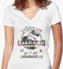 Camiseta entallada de cuello en V Mamasaurus - Jurasskicked