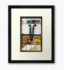 Lyrebird Stained Glass Framed Print