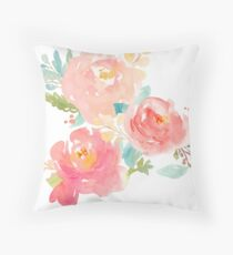 Peonies Watercolor Bouquet Throw Pillow