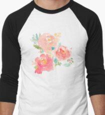 Peonies Watercolor Bouquet Men's Baseball ¾ T-Shirt
