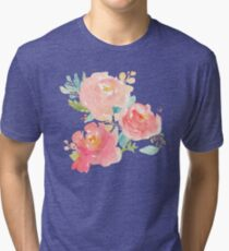 Peonies Watercolor Bouquet Tri-blend T-Shirt