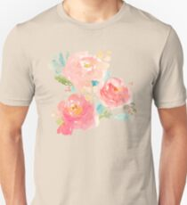 Peonies Watercolor Bouquet Unisex T-Shirt