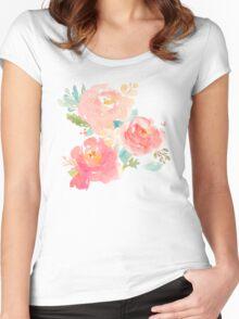 Peonies Watercolor Bouquet Women's Fitted Scoop T-Shirt