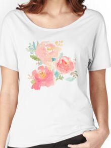 Peonies Watercolor Bouquet Women's Relaxed Fit T-Shirt
