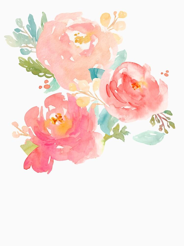 Pfingstrosen-Aquarell-Blumenstrauß von junkydotcom