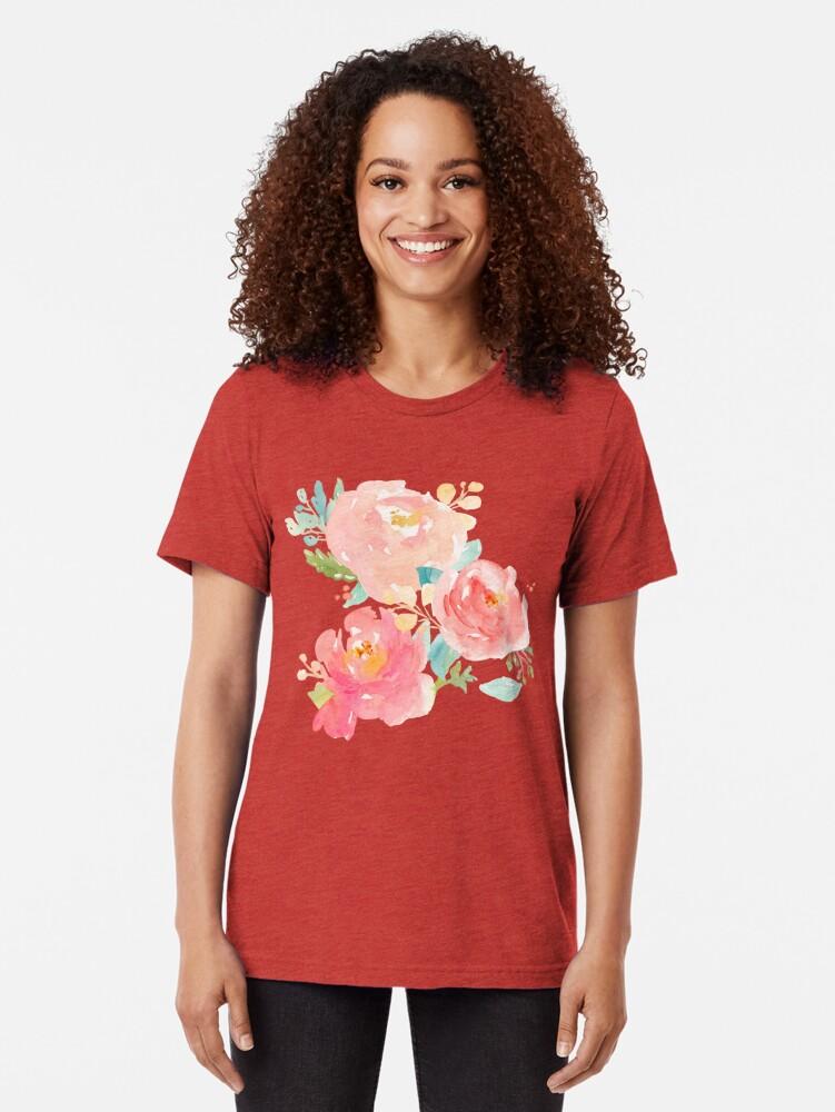 Alternative Ansicht von Pfingstrosen-Aquarell-Blumenstrauß Vintage T-Shirt