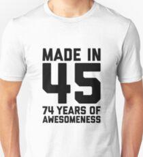 74th Birthday Gift Adult Age 74 Year Old Men Women Mom Dad Grandpa Grandma Slim Fit T-Shirt