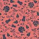 Floral Paradise Patterns in Coral and Blue by lottibrown