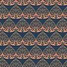 Art Deco Pattern in Blue & Coral by lottibrown