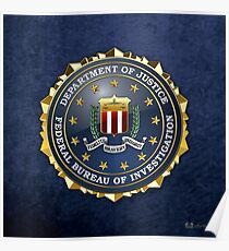 Federal Bureau of Investigation - FBI Emblem 3D on Blue Velvet Poster
