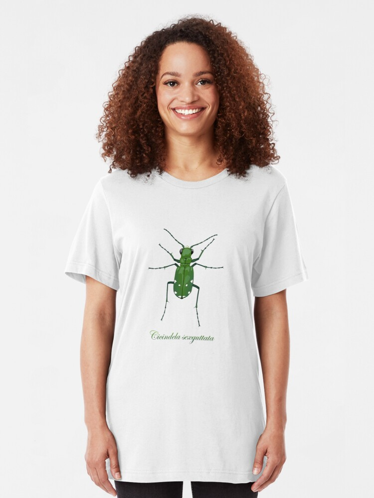 Alternate view of  Six-spotted green tiger beetle, Cicindela sexguttata Slim Fit T-Shirt