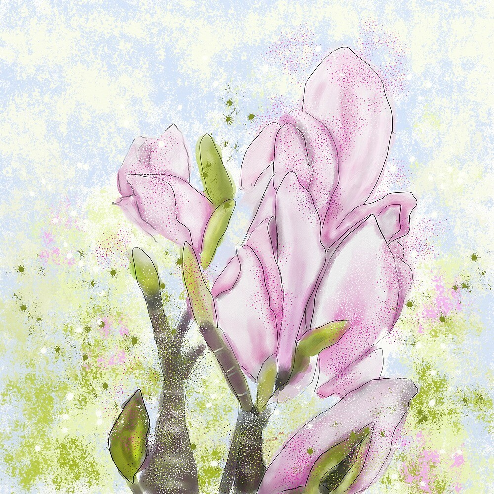 Whimsical Pink Magnolia Blossom Painting by Clare Walker