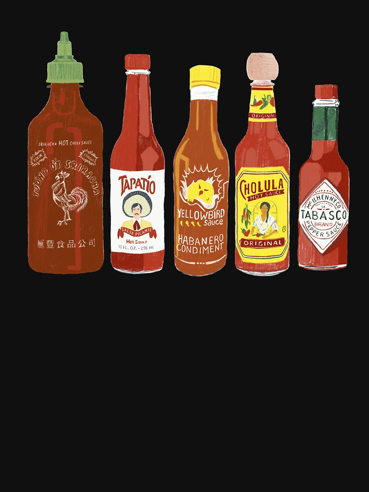 Spicy! Check out these hot sauces on tomato red background by shoshannahscrib