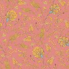Floral Paradise Patterns in Coral & Yellow by lottibrown