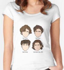 Timothée Chalamet-Haarschnitt-Illustration Tailliertes Rundhals-Shirt