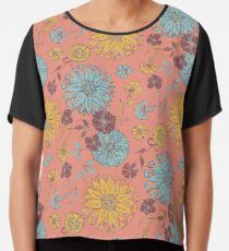 Multi Florals Pattern in Coral, Yellow & Blue Chiffon Top