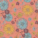 Multi Florals Pattern in Coral, Yellow & Blue by lottibrown