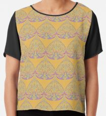Art Deco Pattern in Yellow & Coral Chiffon Top