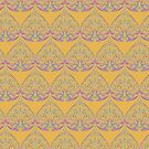 Art Deco Pattern in Yellow & Coral by lottibrown