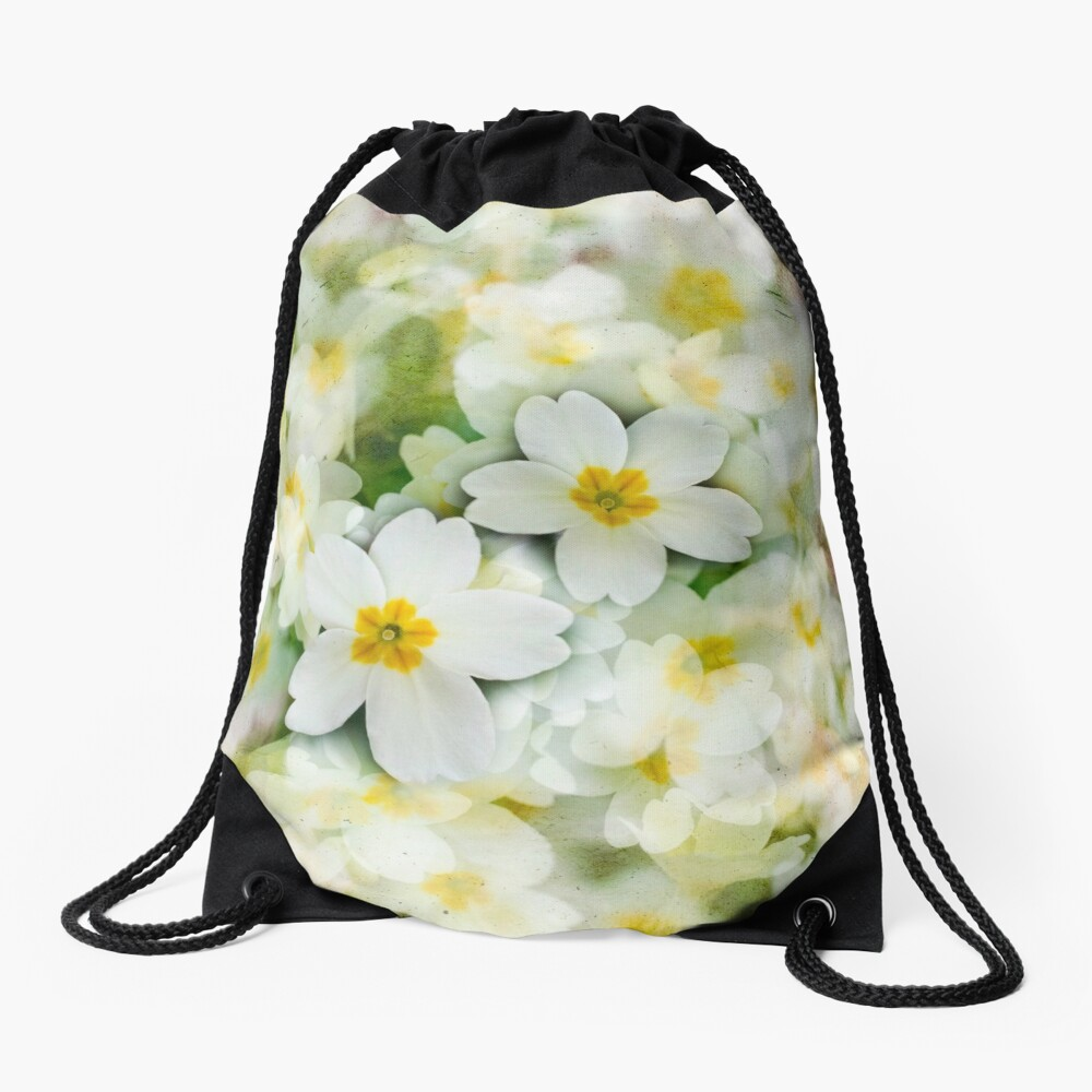 Old Glass Plate Style Image Spring Woodland Primula  Flowering Pretty Drawstring Bag