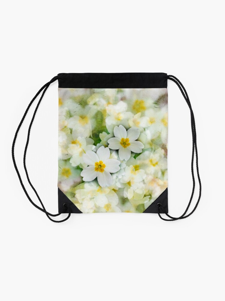 Alternate view of Old Glass Plate Style Image Spring Woodland Primula  Flowering Pretty Drawstring Bag