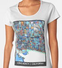 ABSTRACT MAP OF LONG BEACH, CA Women's Premium T-Shirt