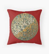 Ancient Mayan (Aztec) Calendar (Jade & Gold)  Throw Pillow