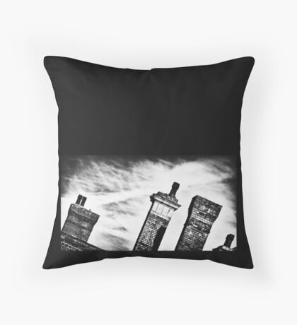 Chimneys of Kettering Station in b&w from Kettrin' Kollection Throw Pillow