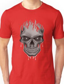Flame Skull - Silver (2) T-Shirt